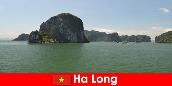 Excursions en bateau pour les vacanciers vers les géants de la roche à Ha Long Vietnam